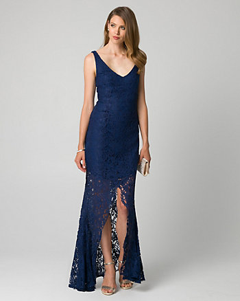 Guipure Lace V-Neck Gown