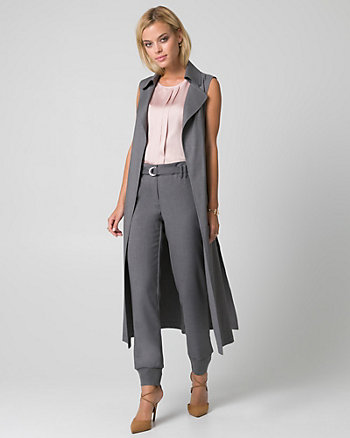 Viscose Blend Belted Long Vest