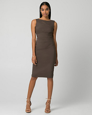 Bengaline Boat Neck Shift Dress