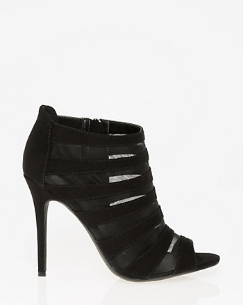 Mesh & Suede-Like Cage Shootie