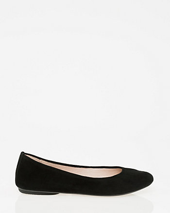 Suede Round Toe Ballerina Flat