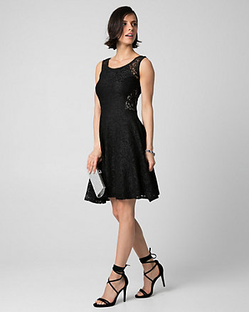 Corded Lace Scoop Neck Cocktail Dress