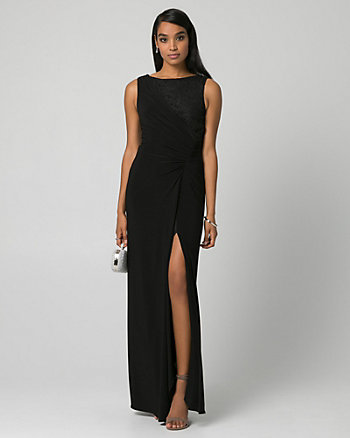 Lace & Knit Scoop Neck Ruched Gown