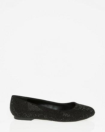 Embellished Suede-Like Ballerina Flat