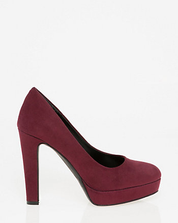 Suede-Like Almond Toe Pump