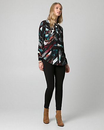 Abstract Print Viscose Mao Collar Blouse