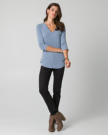 Brushed Jersey V-Neck Top