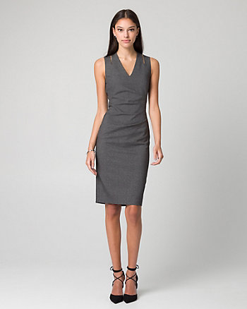Tweed Viscose Blend V-Neck Shift Dress