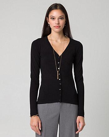 Viscose Blend Button-Front Cardigan