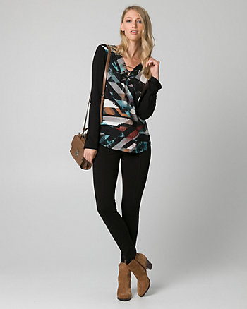 Abstract Print Crêpe de Chine & Knit Top