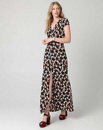 Floral Print Crêpe V-Neck Maxi Dress
