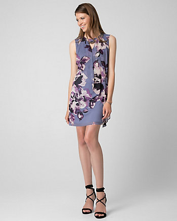 Floral Print Knit Scoop Neck Trapeze Dress