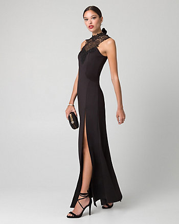 Lace & Scuba Knit Illusion Gown