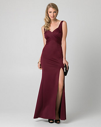 Scuba Knit V-Neck Pleated Gown