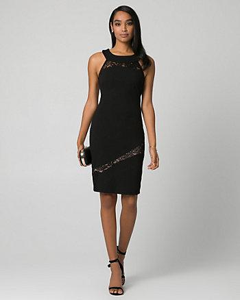 Ponte & Lace Halter Dress