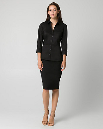 Stretch Poplin Button-Front Blouse