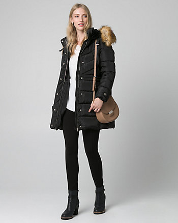 Faux Fur & Nylon Puffer Coat