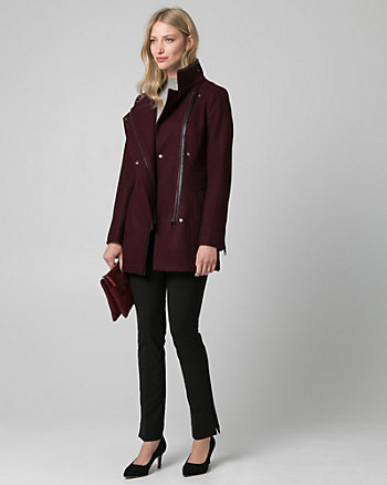 Melton Funnel Neck Asymmetrical Coat