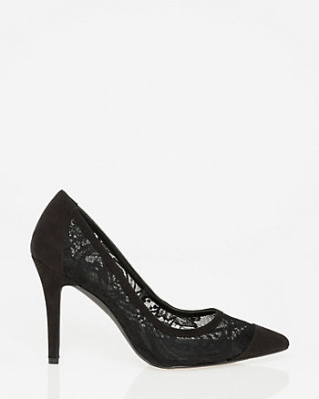 Lace & Suede-Like Pointy Toe Pump