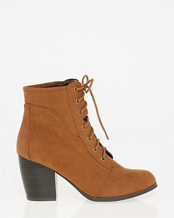Suede-Like Lace-Up Ankle Boot