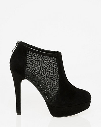 Embellished Suede-Like Platform Shootie