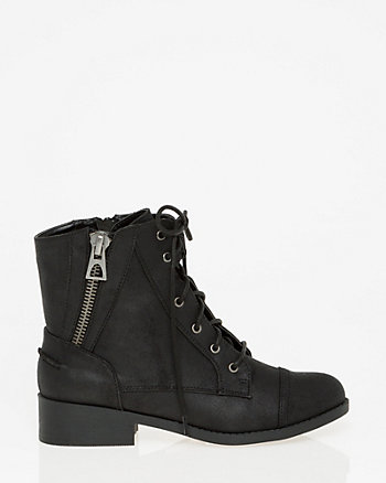 Leather-Like Lace-Up Ankle Boot