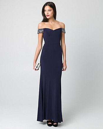 Embellished Knit Off-the-Shoulder Gown