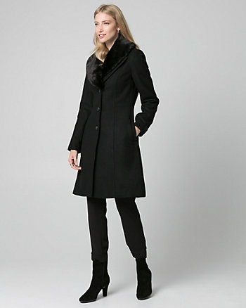 Melton Coat with Faux Fur Collar