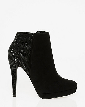 Jewel Embellished Suede-Like Ankle Boot
