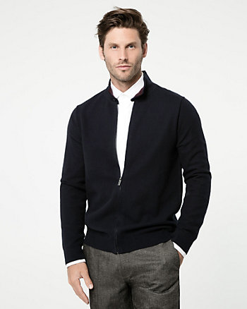 Textured Cotton Zip-Front Sweater