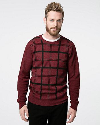 Check Print Yarn Crew Neck Sweater