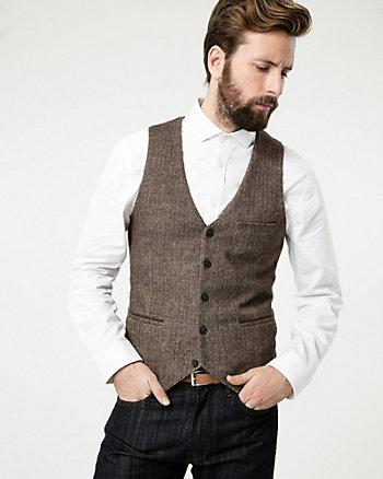 Tonal Herringbone Woven City Fit Vest