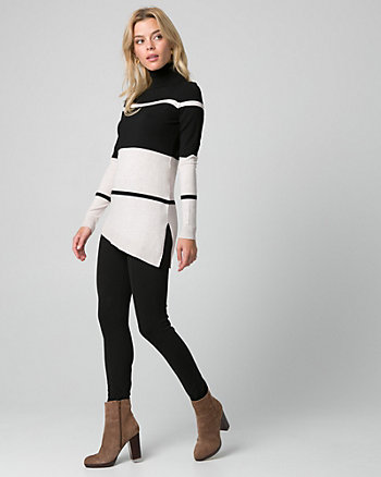 Stripe Viscose Blend Asymmetrical Sweater