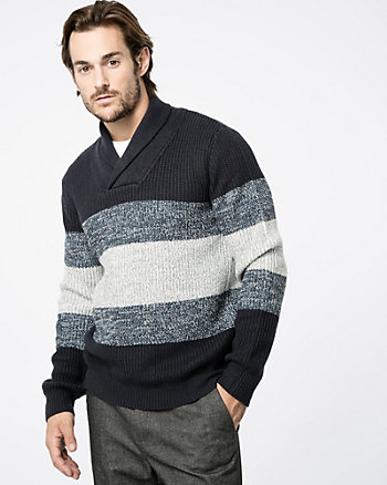 Stripe Knit Shawl Collar Sweater