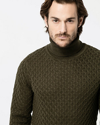 Textured Knit Turtleneck Sweater