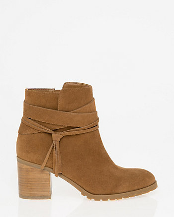Suede Round Toe Ankle Boot