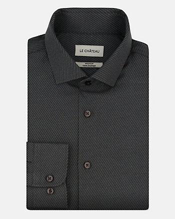 Tonal Cotton Blend Athletic Fit Shirt