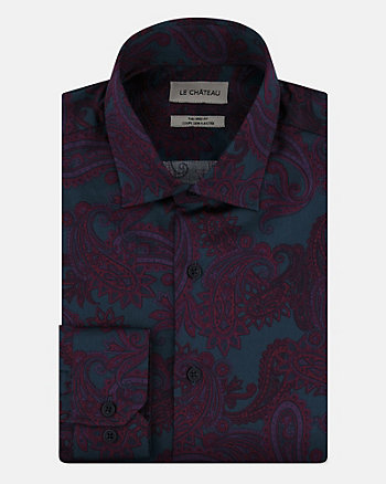 Paisley Print Sateen Tailored Fit Shirt