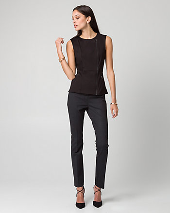 Ponte Asymmetrical Front-Zip Top