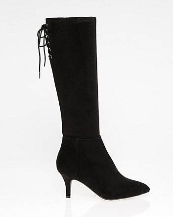 Suede-Like Pointy Toe Knee-High Boot