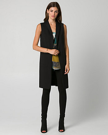Ponte Shawl Collar Long Vest