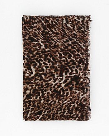 Leopard Print Knit Lightweight Scarf