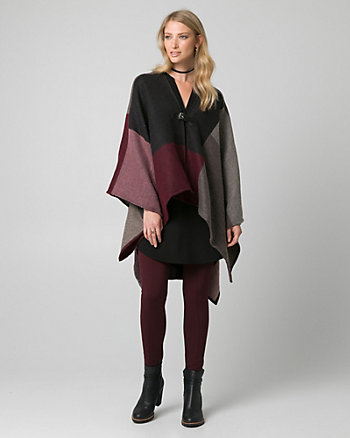 Colour Block Buckle Poncho