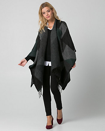 Colour Block Woven Open-Front Poncho