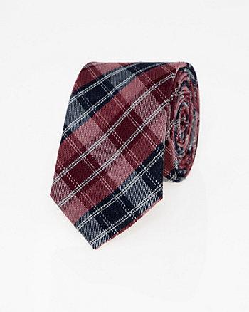 Check Print Viscose Blend Skinny Tie