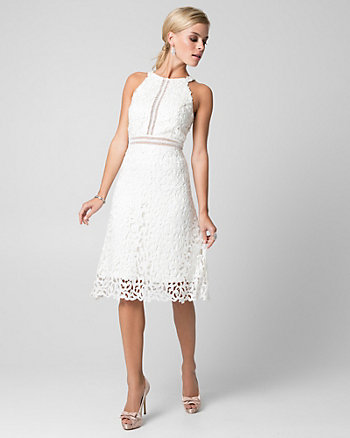 Guipure Lace & Sequin Halter Dress