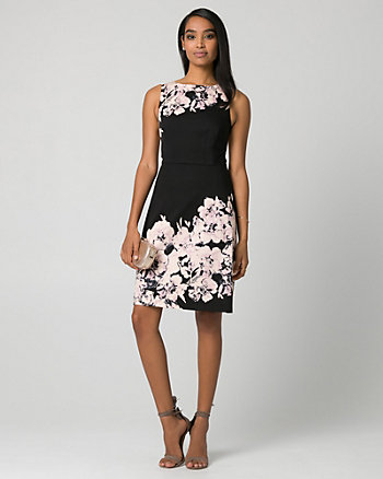 Floral Print Cotton Sateen Boat Neck Dress