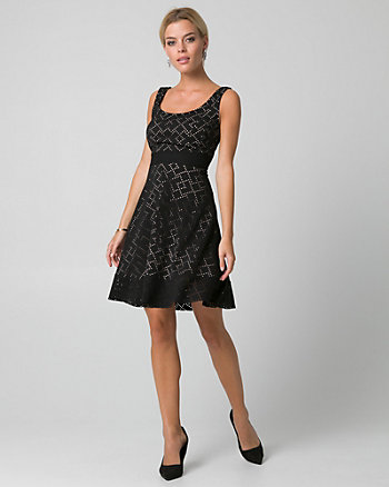 Laser Cut Knit Scoop Neck Dress