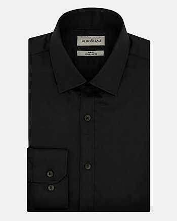 Stretch Cotton Sateen Slim Fit Shirt