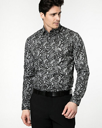 Paisley Print Cotton Blend Slim Fit Shirt